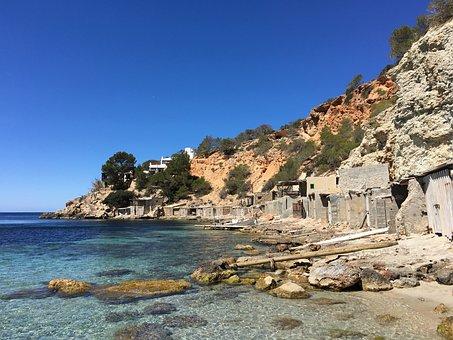 Sea, Cliff, Boat House, Ibiza, Coast, Beach, Blue Sea