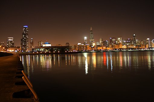 Chicago Night, Lake Michicagn, Reflection, Skyline