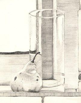Pencil, Graphite, Still Life, Glass, Pear, Drawing