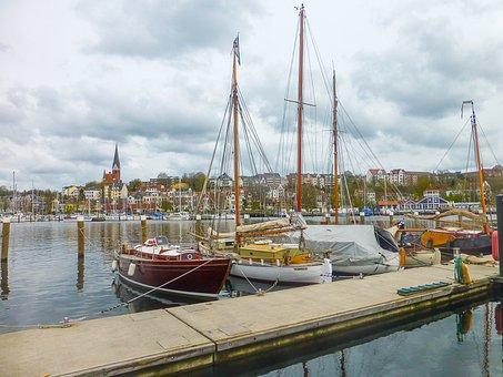 Flensburg, Port, Spring, Boats, Eastern Shore, Sun
