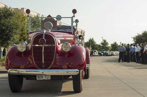 Classic, Fire Engine, Vehicle, Truck, Vintage, Old, Red
