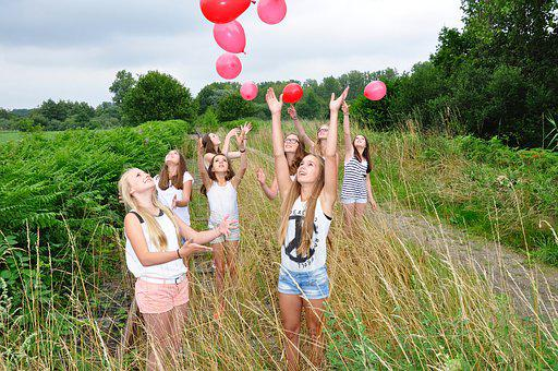 Girls, Children, Luck, Love, Balloon, Balloons, Color