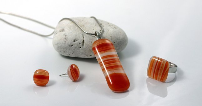 Fused Glass, Glass, Jewellery, Red, Orange, Fashion