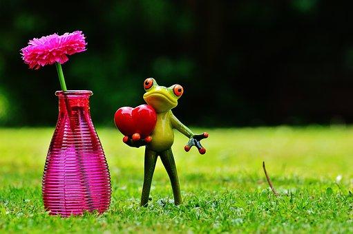 Frog, Love, Valentine's Day, Vase, Flower, Glass