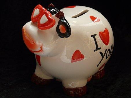 Piggy Bank, Savings Bank, Cow, Heart, Love, Glasses