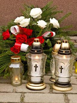 Graveyard, Lanterns, Cemetery, Flowers, Bouquet