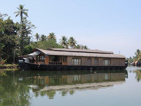 Boat, Houseboat, Kerala, River, Travel, Water