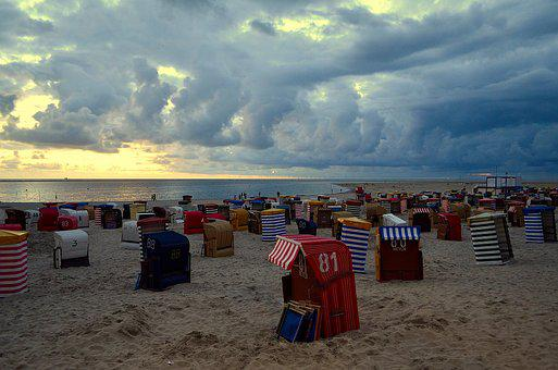 Main Beach, Borkum, Clubs, Evening Sky, Mood, Lighting