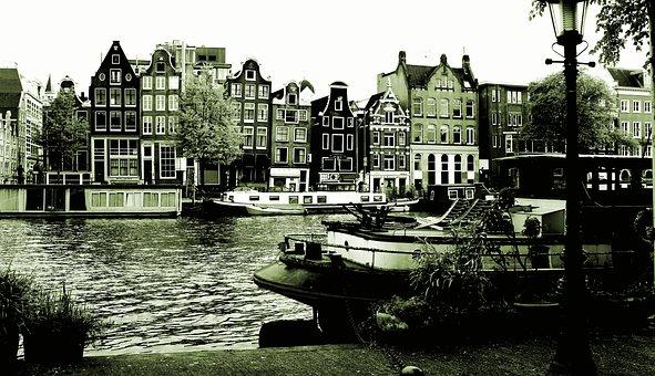 Black, White, Amsterdam, Netherlands, Holland, Europe