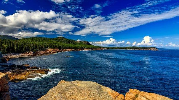 Maine, Sea, Ocean, Water, Reflections, Landscape, Sky