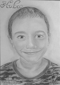Portrait, Drawing, Graphite, Art, Pencil, Boy, Men's