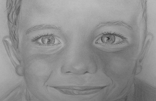 Boy, Men's, Person, Smile, Portrait, Drawing, Graphite