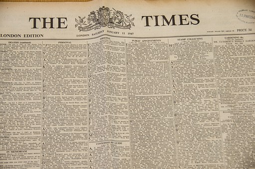 The Times, Newspaper, Historic, Print, Text, Paper