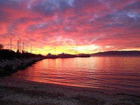 Sunset, Red Sky, Galicia Port, Cape, Antibes, Beach