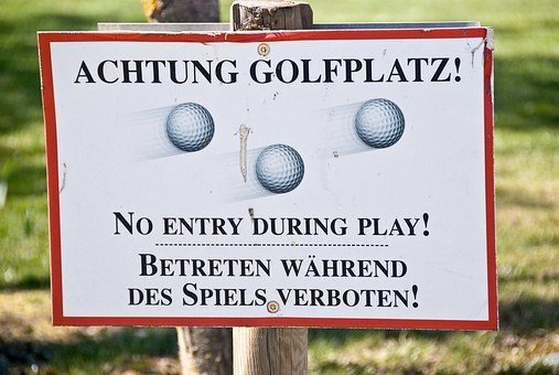 Golf, Golf Course, Attention, Sign, Shield, Note