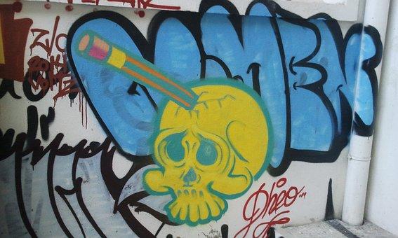 Graphite, Head, Skull, Drawing, Color