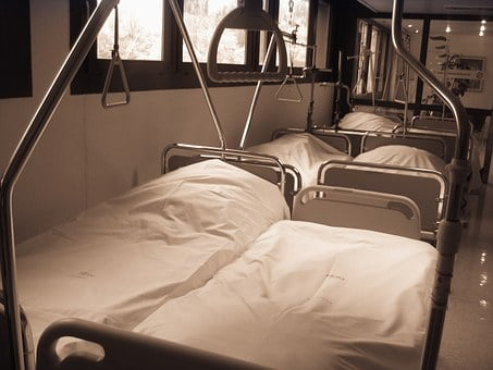 Hospital, Station, Bed, Bedside, Rod, Gallows, Ceiling