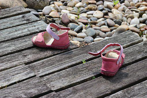 Children's Shoes, Way, Childhood, Past, Wood, Stones