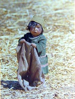 Indigenous, Peruvian, Child, Titicaca, Floating, Island