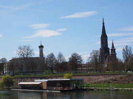 Ulm, Danube, River, Water, Münster, Bank, Boot