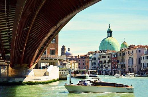 Beautiful, Venice, Canals, Boats, Gondolas, Blue, Sky