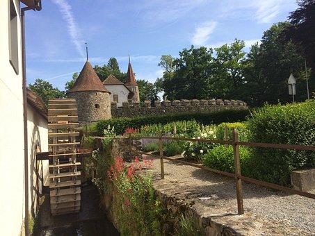 Mill, Waterwheel, Channel, Hallwil Castle, Garden, Wall