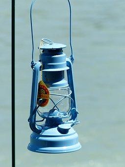 Kerosene Lamp, Lamp, Light, Blue, Tank, Wick, Burner