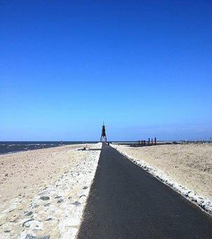 Cuxhaven, Beach, North Sea, Blue, Dunes, Sky, Love, Sea