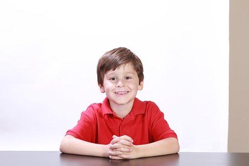 Boys, Portraits, Kids, Children, Sitting, Red, Shirts