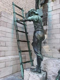 Antwerp, Sculpture, Bronze, Ladder, Belgium, Builder