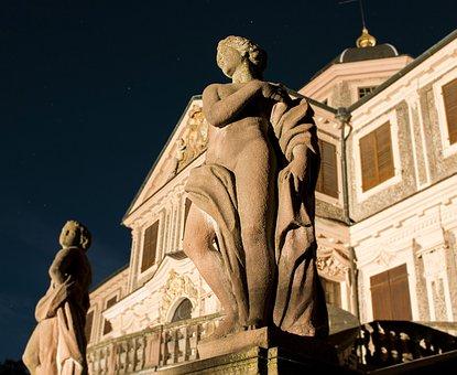 Statue, Castle, Favorite, Förch, Comedy, Night