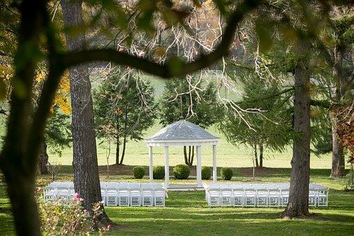 Fall, Wedding, Ceremony, Landscape, Chairs, Pavilion