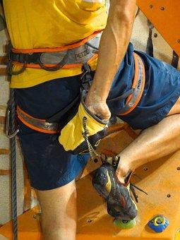 Chalk Bag, Chalk, Climber, Climbing Shoes, Occurs, Man