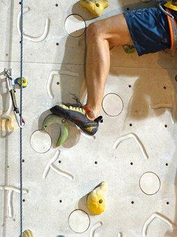 Climb, Occurs, Leg, Man, Strong, Muscles, Climbing Rope
