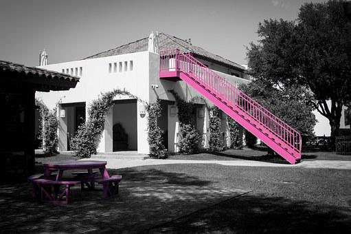Color, Pink, Monochromatic, Building, White, Modern