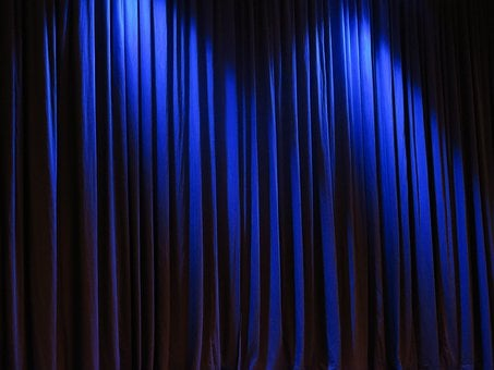 Curtain, Theater, Velvet, Blue Vorührung, Stage, Occurs