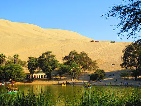 Oasis, Peru, Huacachina, Desert, Sand, Pond