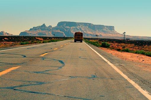 School Bus, Road, Pavement, Desert, Sand, Plants, Rural
