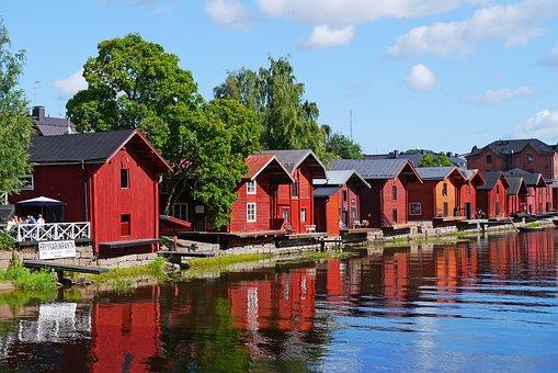 Wooden Houses, Historic Center, River, Finnish, Porvoo