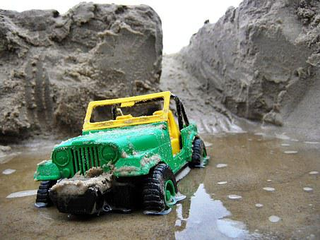 Beach, Toy, Car, Jeep, Off-road Driving, Area, Toy Car