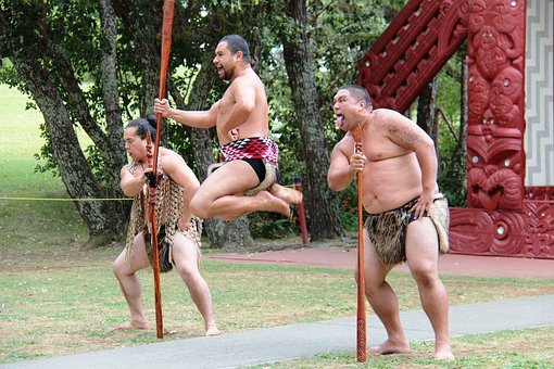 Maori, Men, Jump, Hop, Spear, Fighter, Warrior