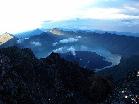 Mountains, Landscape, View, Evening, Rinjani, Travel