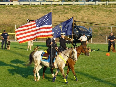 Police, Cavalry, K-9 Show, American Flag, Indiana Flag