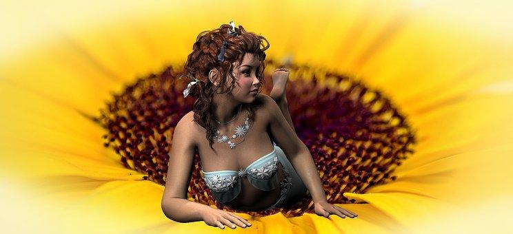 Elf, Girl, Sunflower, Pretty, Fantasy, Relax, Rest