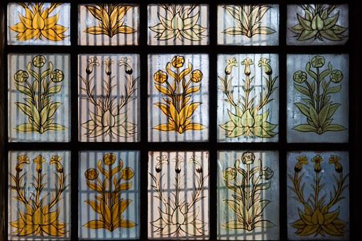 Plant, Flowers, Orange, Yellow, Stained Glass, Lead