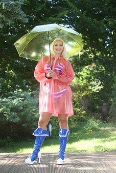 Rain, Summer Rain, Umbrella, Bikini, Rain Coat