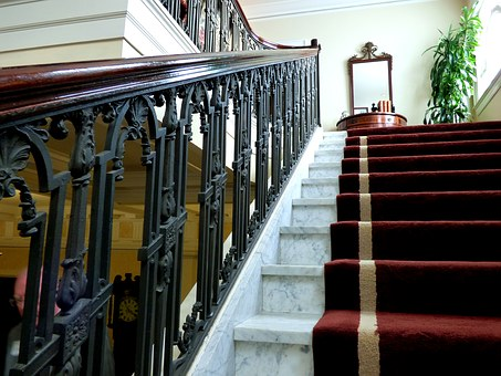 Stairs, Staircase, Vintage, Rug, Runner, Iron Railing