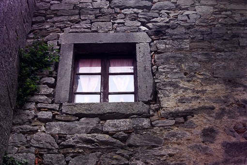 Window, View, Old, House, Stome, Home, Wall