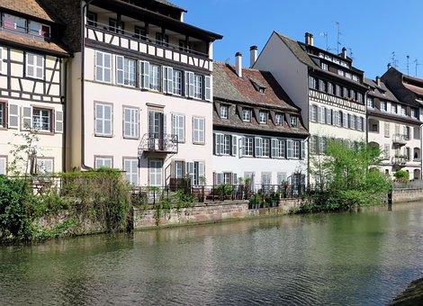 Alsace, Strasbourg, Ill, River, Wharf, Houses Facades