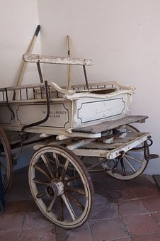 Coach, White, Wooden Wheels, Pairs, Old, Antique, Wheel